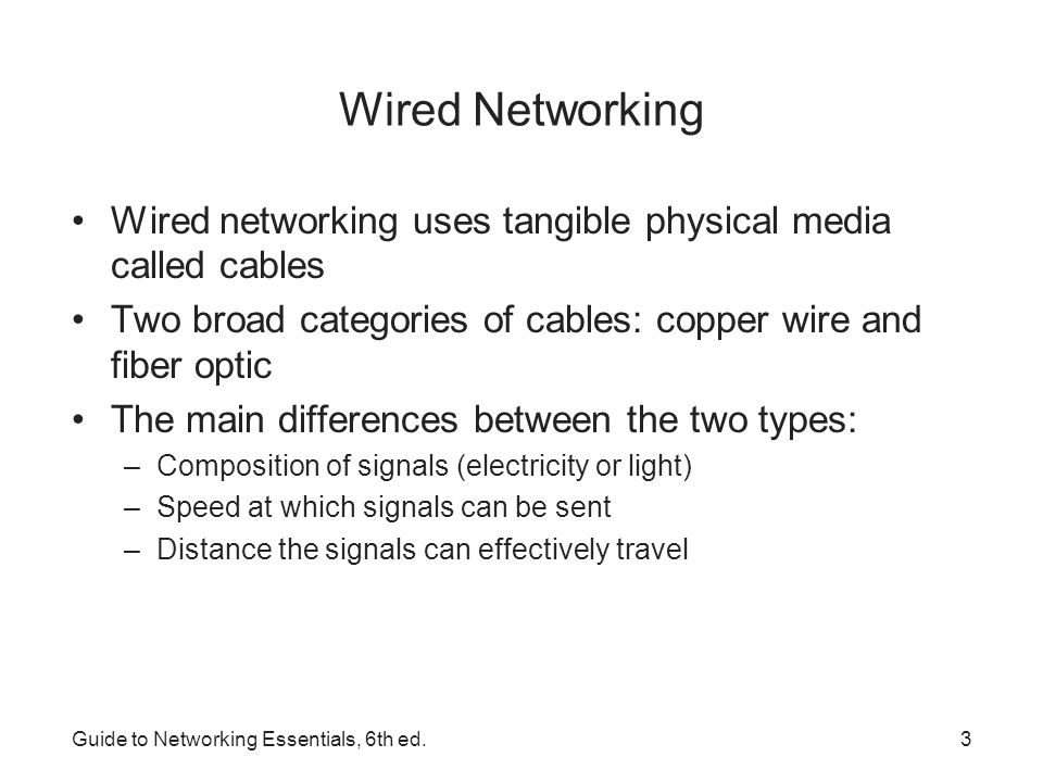 Wired Networking Wired networking uses tangible physical media called cables. Two broad categories of cables: copper wire and fiber optic.