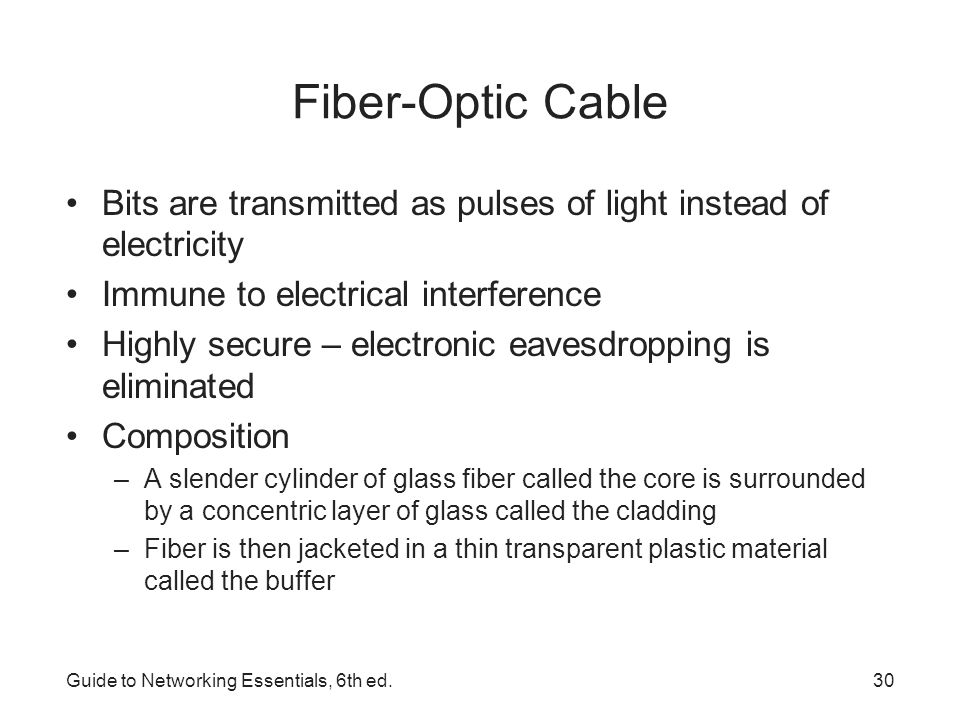 Fiber-Optic Cable Bits are transmitted as pulses of light instead of electricity. Immune to electrical interference.