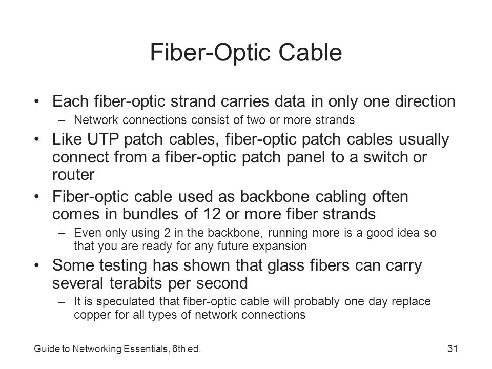 Fiber-Optic Cable Each fiber-optic strand carries data in only one direction. Network connections consist of two or more strands.
