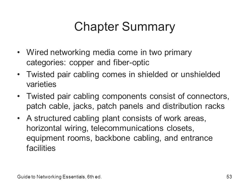 Chapter Summary Wired networking media come in two primary categories: copper and fiber-optic.