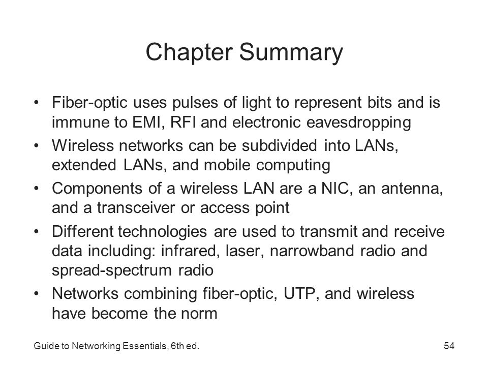 Chapter Summary Fiber-optic uses pulses of light to represent bits and is immune to EMI, RFI and electronic eavesdropping.