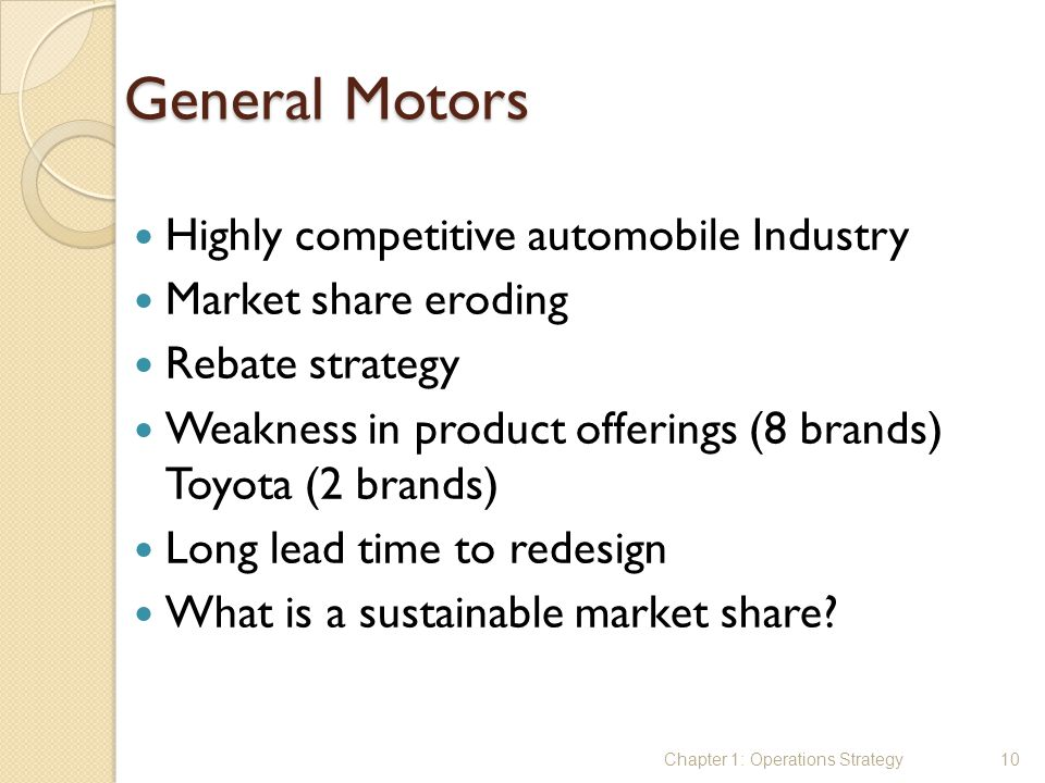 General Motors Highly competitive automobile Industry