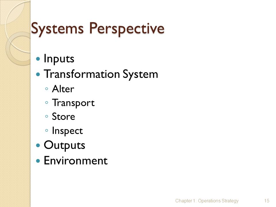 Systems Perspective Inputs Transformation System Outputs Environment