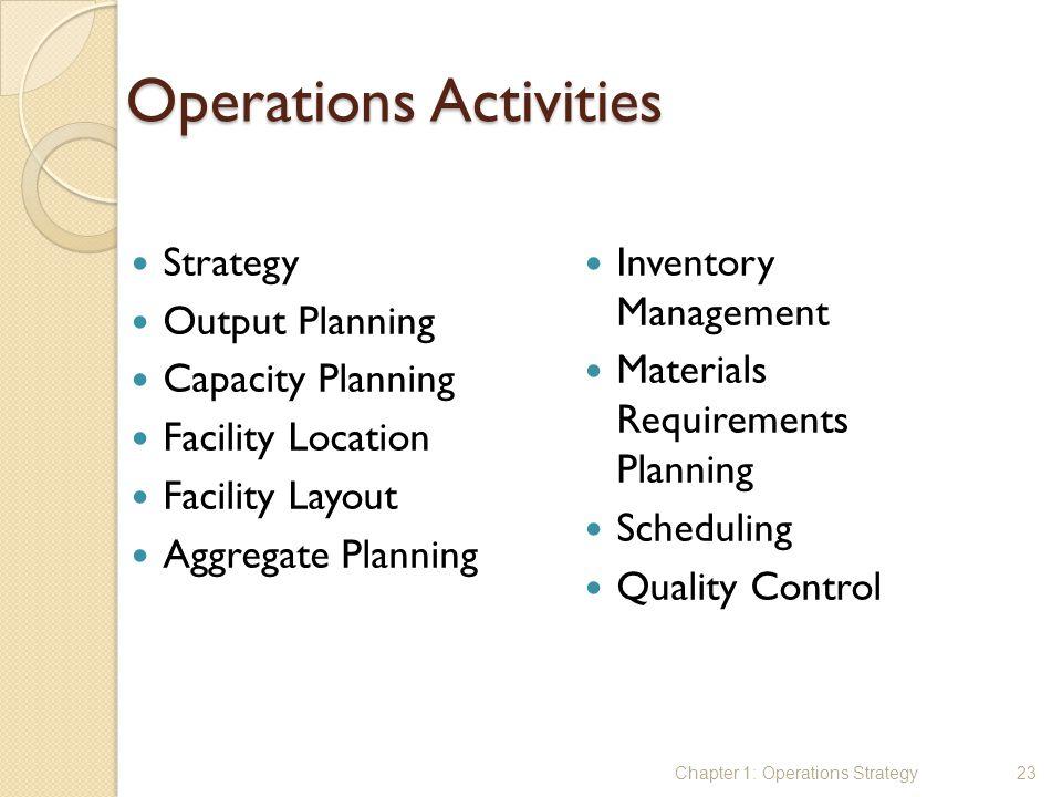 Operations Activities