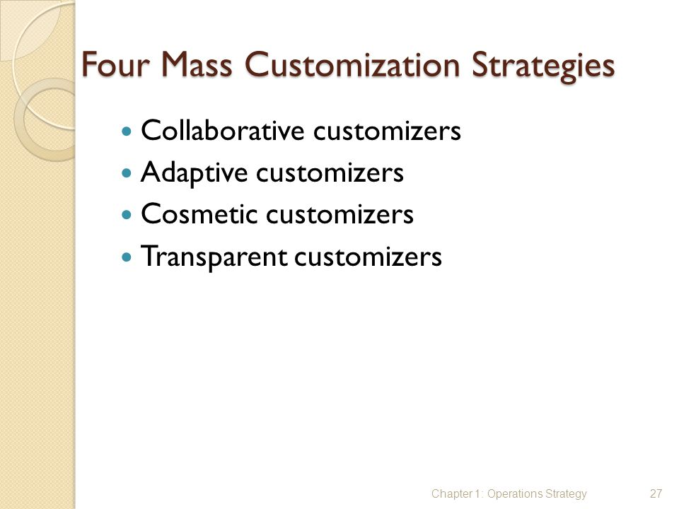Four Mass Customization Strategies