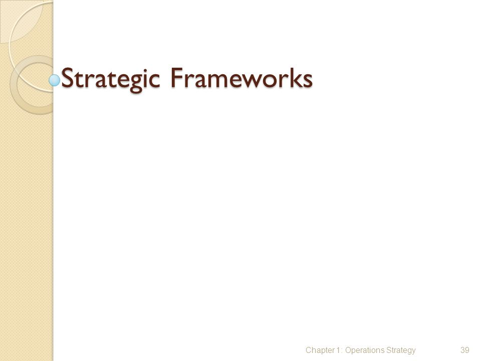Strategic Frameworks Chapter 1: Operations Strategy