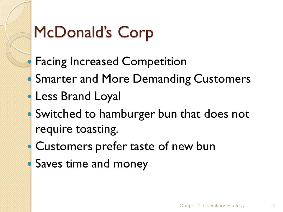 McDonald's Corp Facing Increased Competition