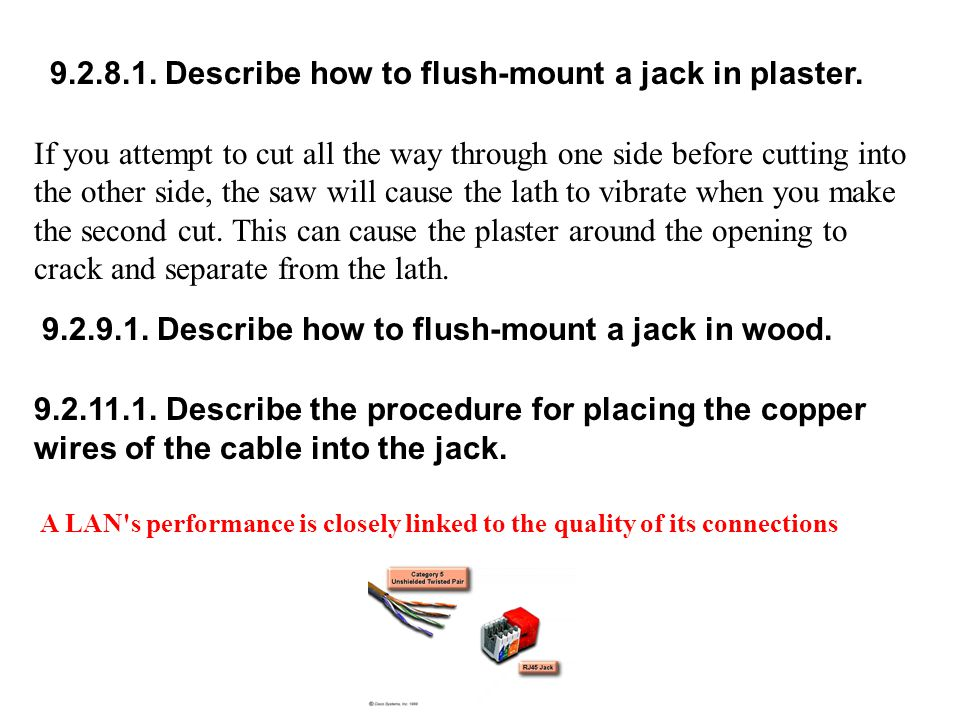 9.2.8.1. Describe how to flush-mount a jack in plaster.