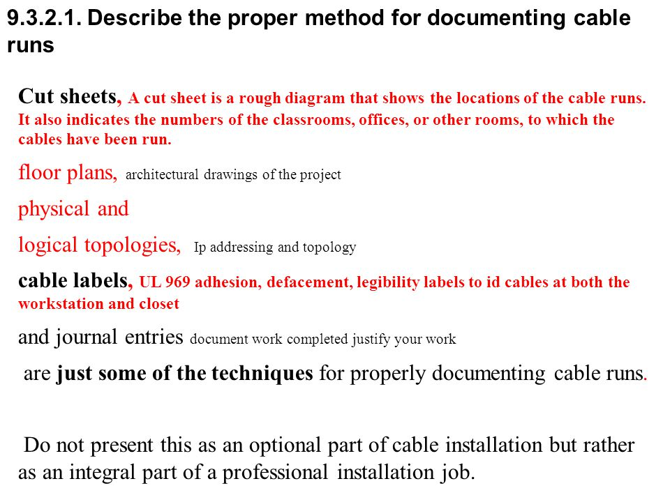 9.3.2.1. Describe the proper method for documenting cable runs