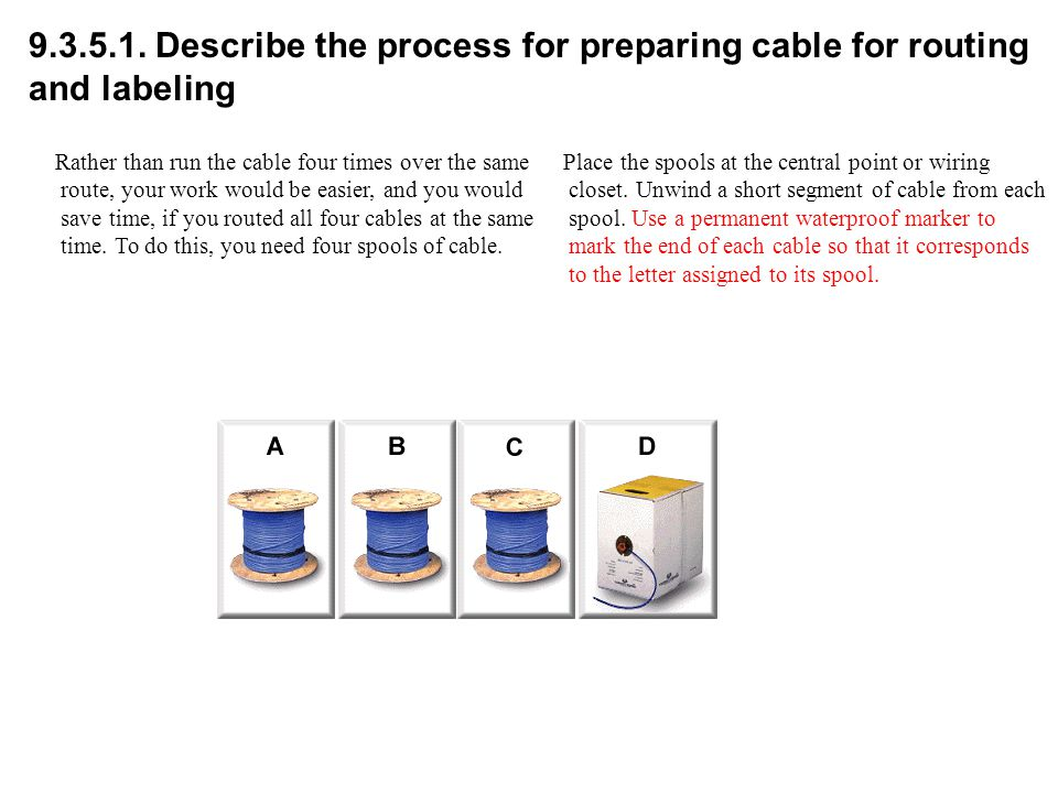 9.3.5.1. Describe the process for preparing cable for routing and labeling