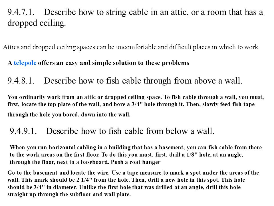9.4.8.1. Describe how to fish cable through from above a wall.