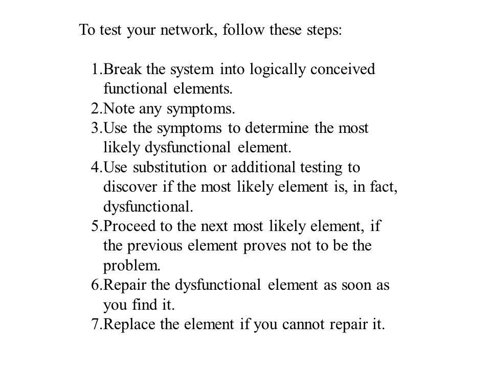 To test your network, follow these steps: