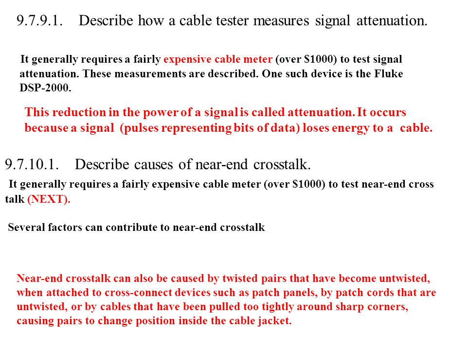 9.7.9.1. Describe how a cable tester measures signal attenuation.