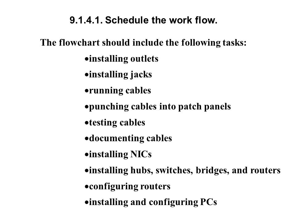 9.1.4.1. Schedule the work flow. The flowchart should include the following tasks: installing outlets.