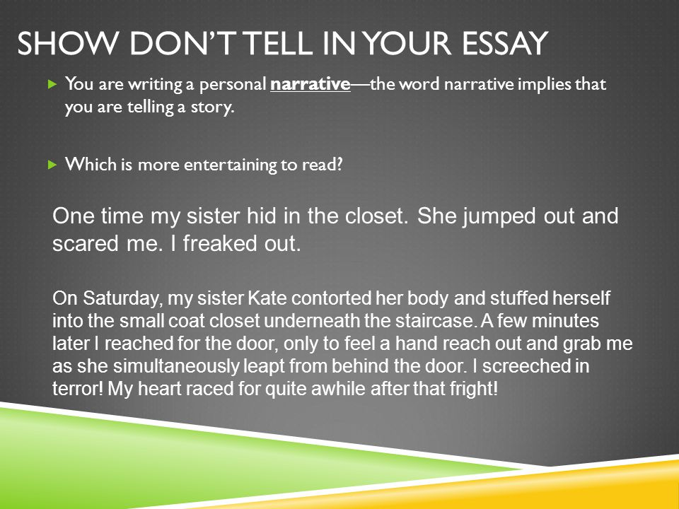 Show Don't Tell in your Essay