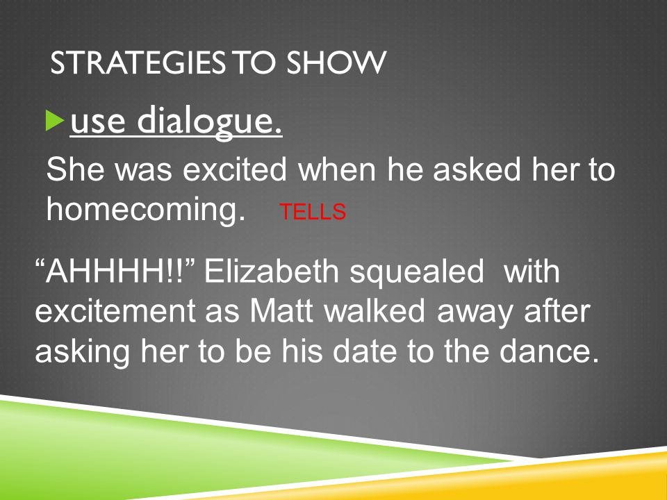 use dialogue. Strategies to Show