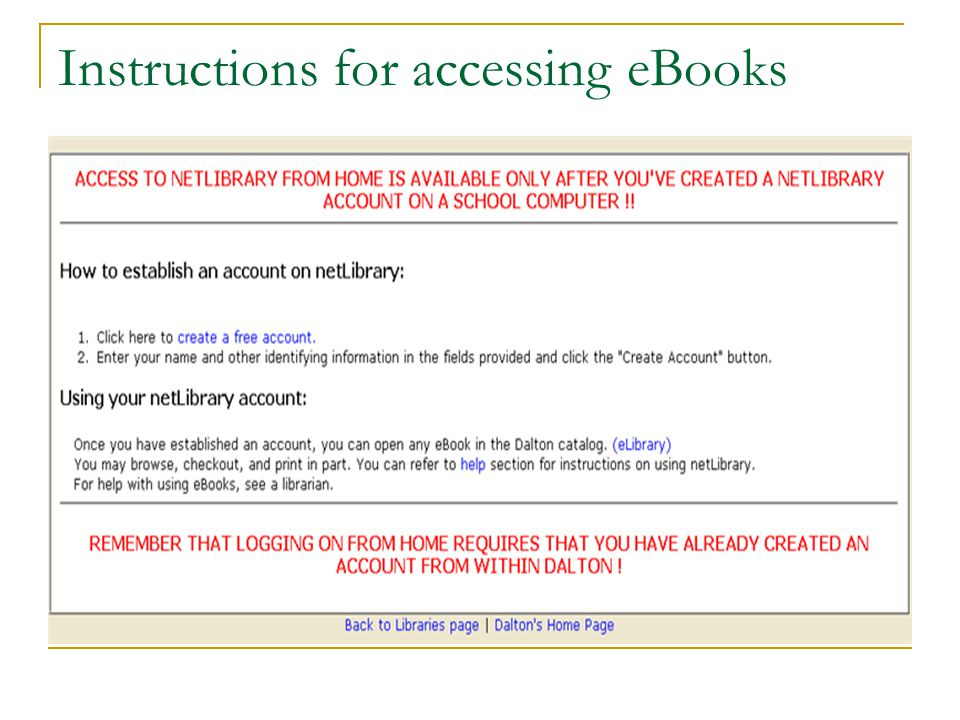 Instructions for accessing eBooks