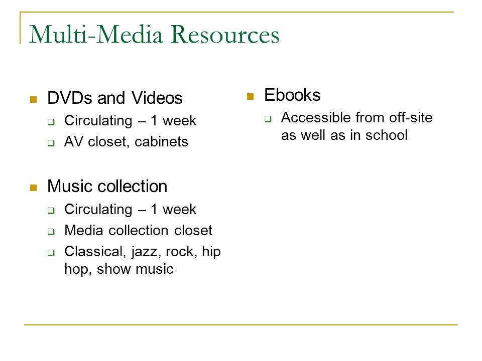 Multi-Media Resources