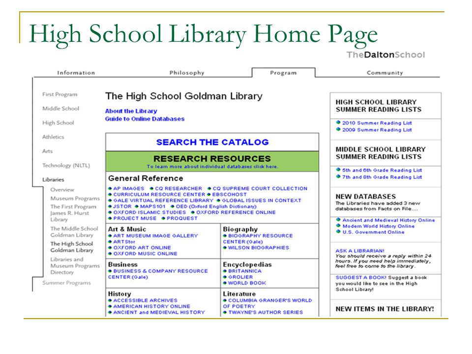 High School Library Home Page