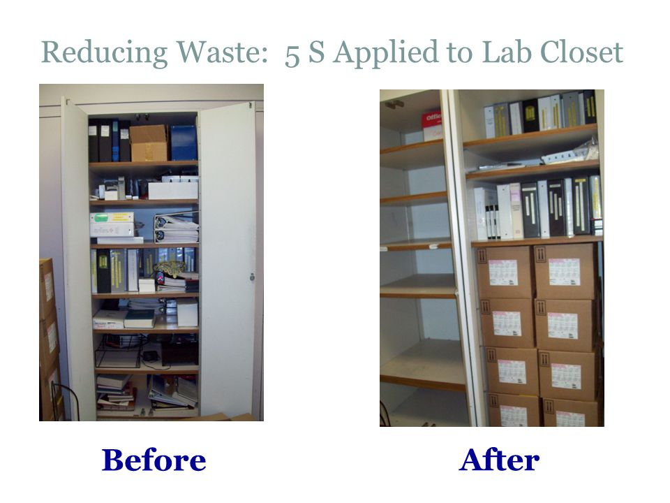 Reducing Waste: 5 S Applied to Lab Closet After Before