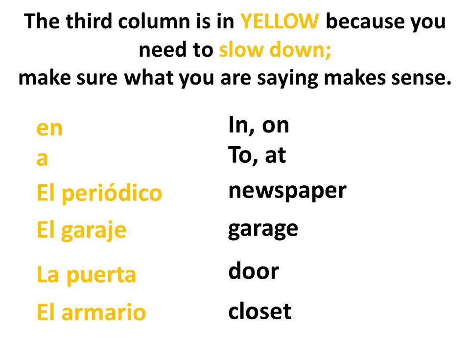 In, on en To, at a newspaper El periódico garage El garaje door