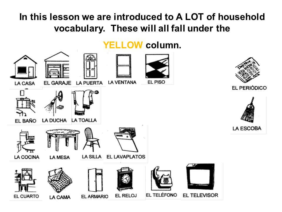 In this lesson we are introduced to A LOT of household vocabulary