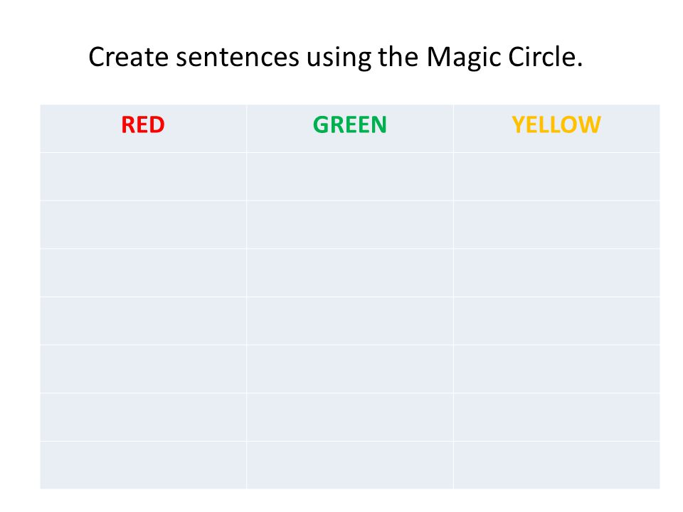 Create sentences using the Magic Circle.