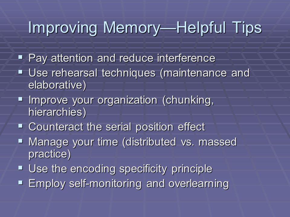 Improving Memory—Helpful Tips