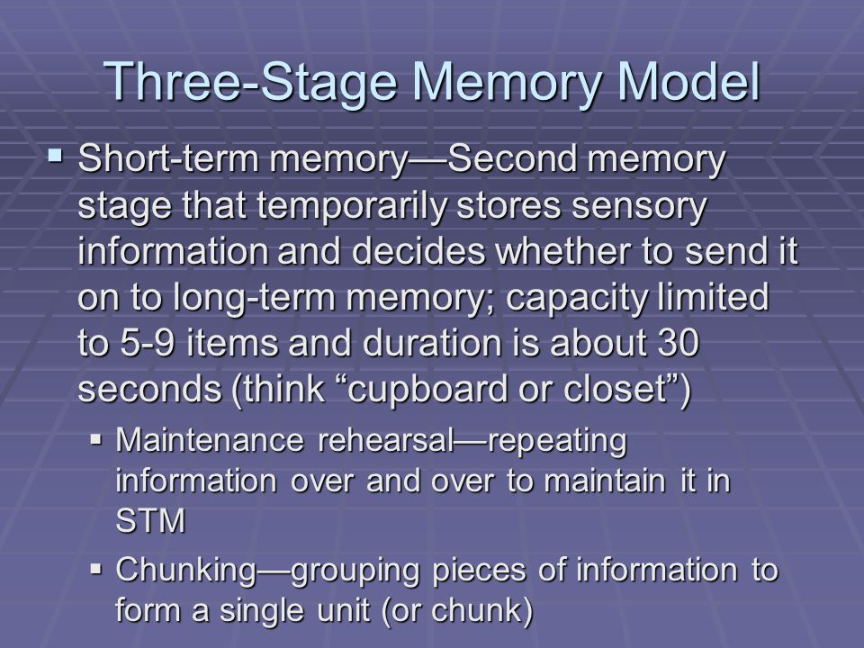 Three-Stage Memory Model