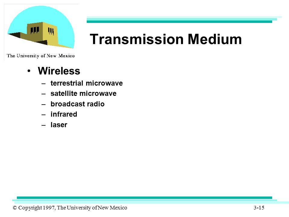 Transmission Medium Wireless terrestrial microwave satellite microwave