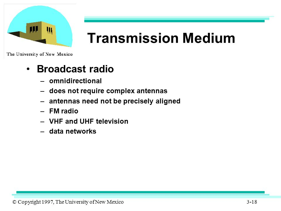 Transmission Medium Broadcast radio omnidirectional