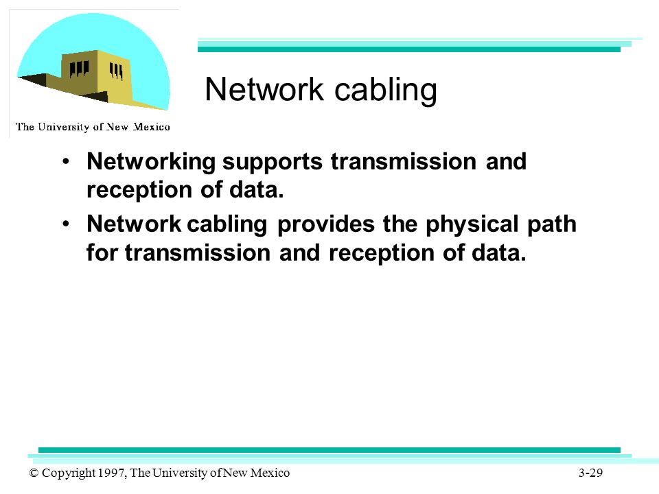 Network cabling Networking supports transmission and reception of data.