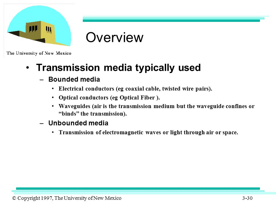 Overview Transmission media typically used Bounded media