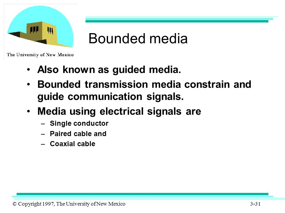 Bounded media Also known as guided media.