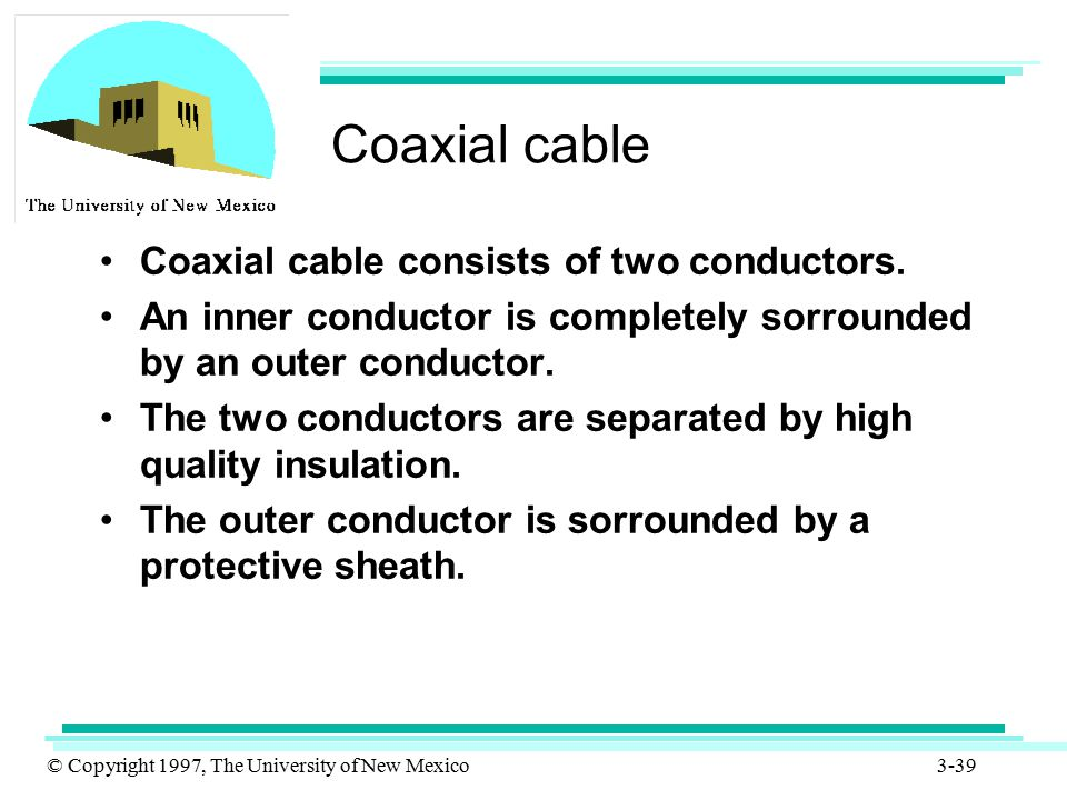 Coaxial cable Coaxial cable consists of two conductors.