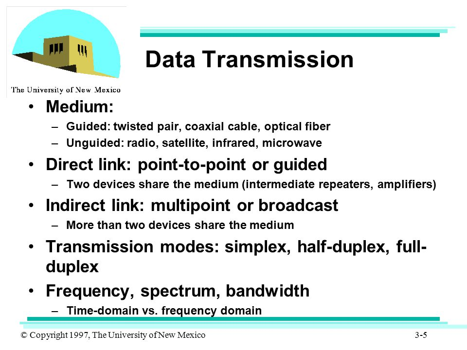 Data Transmission Medium: Direct link: point-to-point or guided