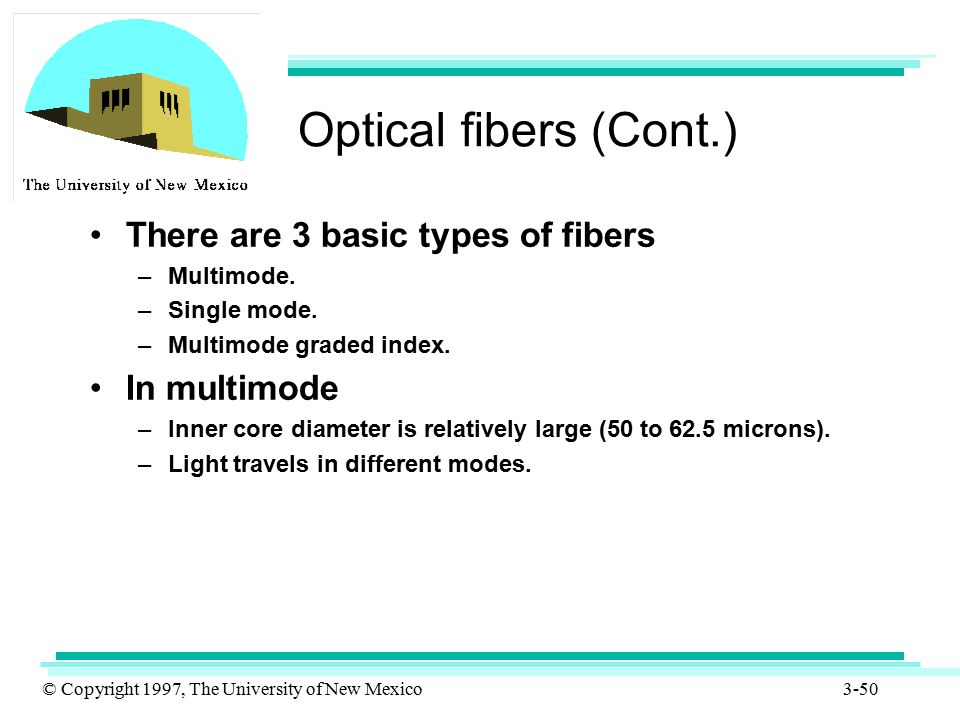 Optical fibers (Cont.) There are 3 basic types of fibers In multimode