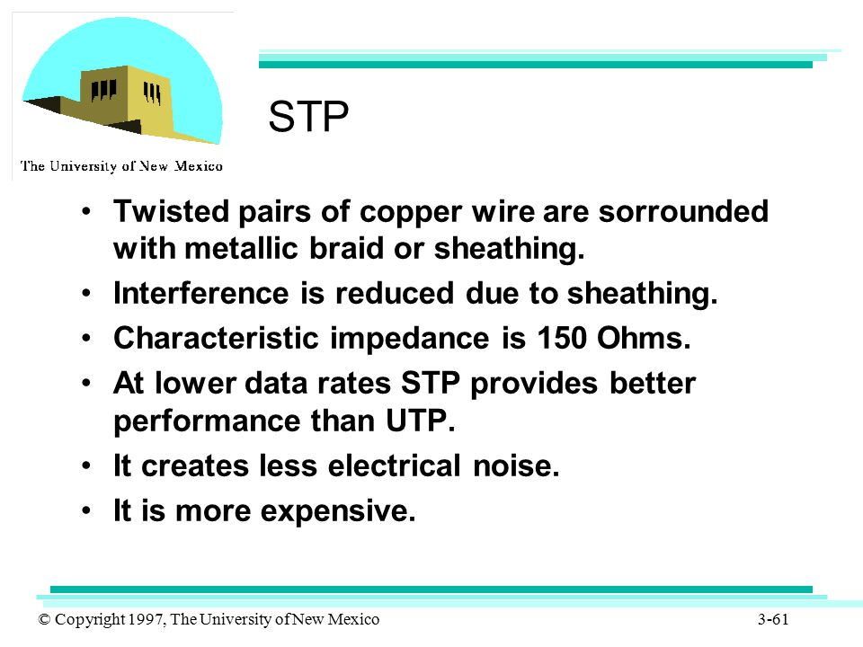 STP Twisted pairs of copper wire are sorrounded with metallic braid or sheathing. Interference is reduced due to sheathing.