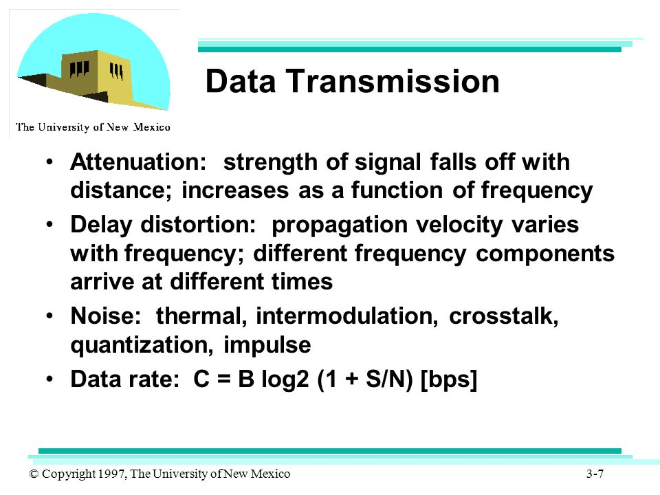 Data Transmission Attenuation: strength of signal falls off with distance; increases as a function of frequency.