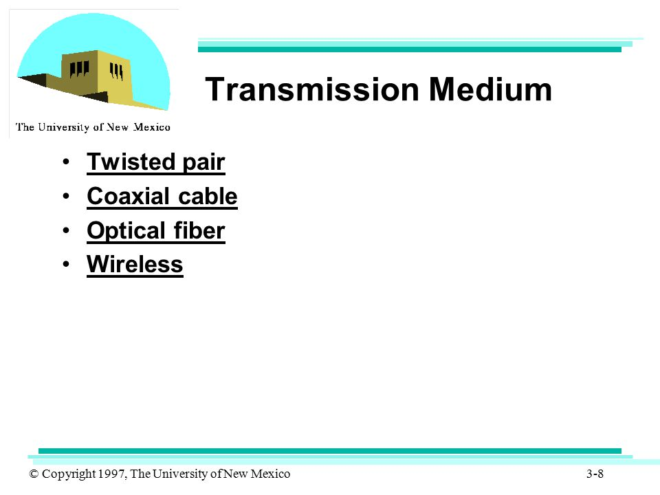 Transmission Medium Twisted pair Coaxial cable Optical fiber Wireless