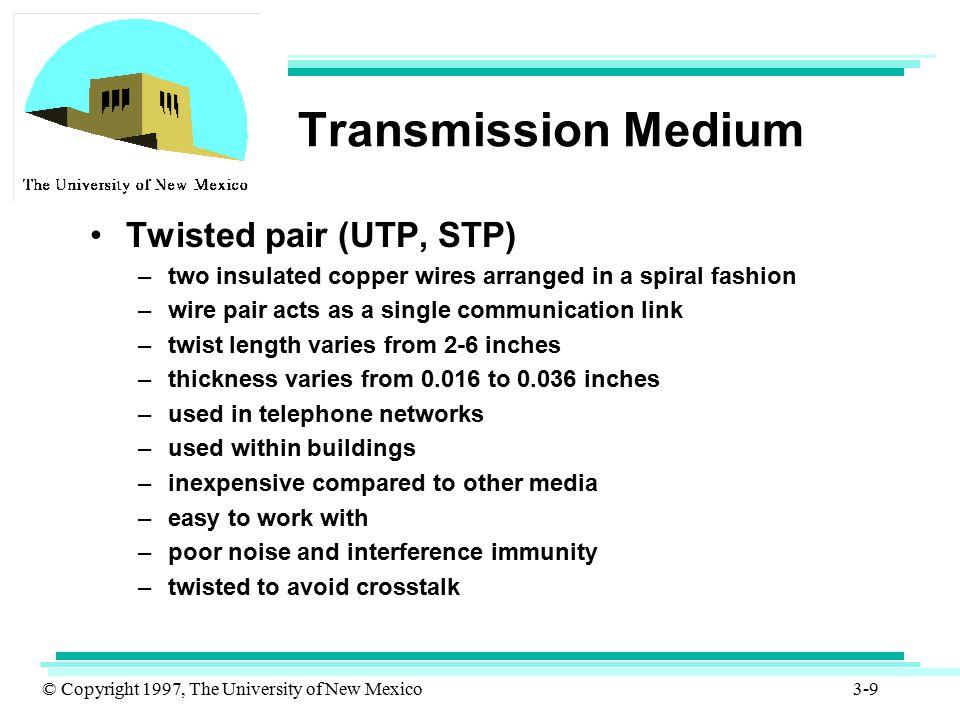 Transmission Medium Twisted pair (UTP, STP)