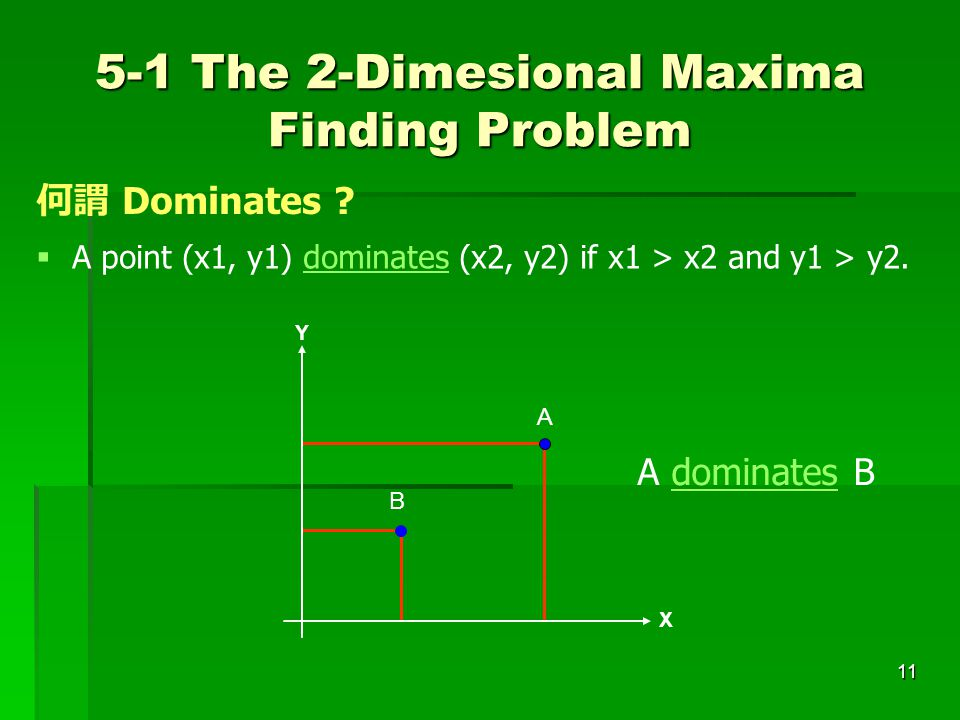 5-1 The 2-Dimesional Maxima Finding Problem