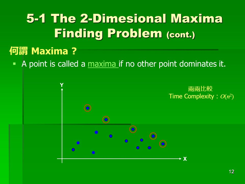 5-1 The 2-Dimesional Maxima Finding Problem (cont.)