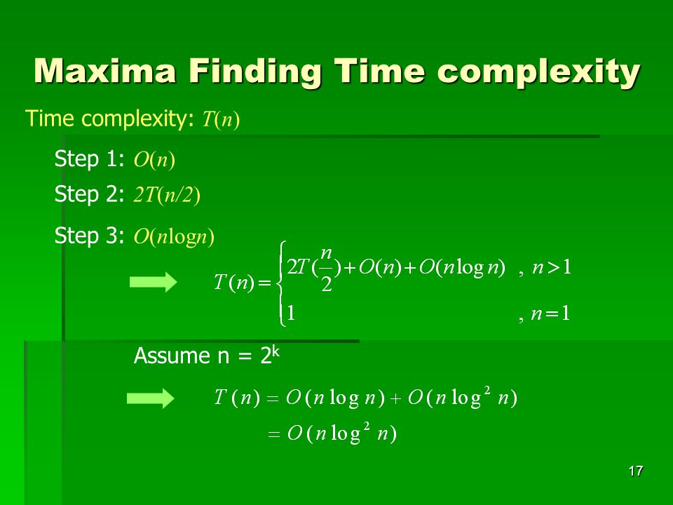 Maxima Finding Time complexity
