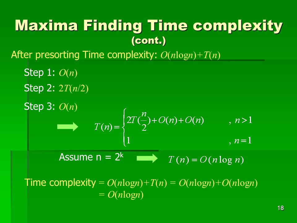 Maxima Finding Time complexity (cont.)