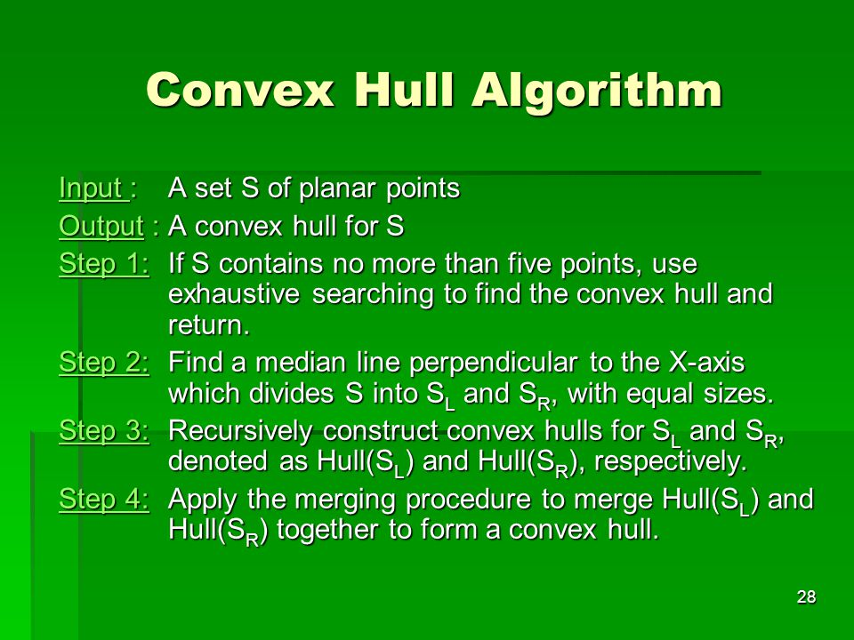 Convex Hull Algorithm Input : A set S of planar points
