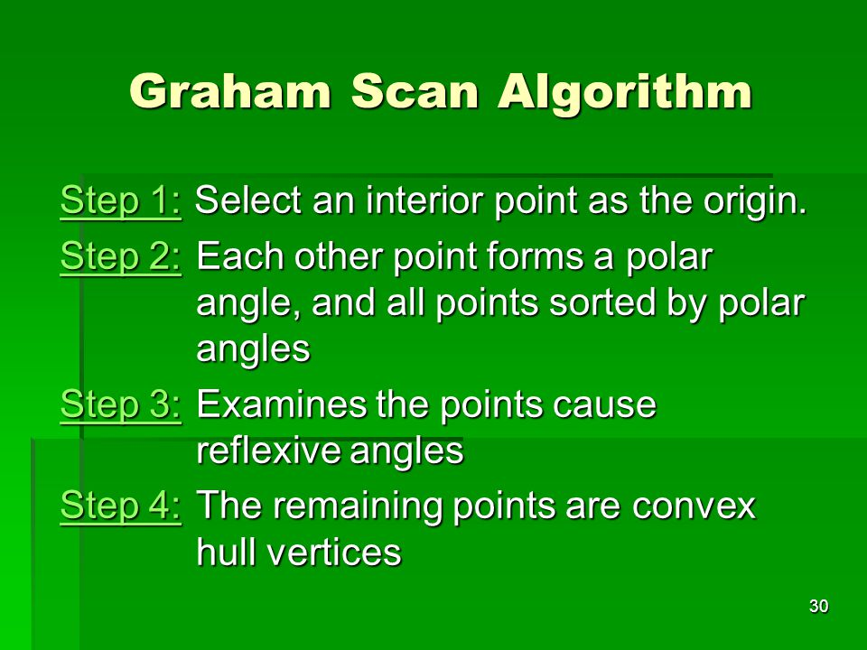 Graham Scan Algorithm Step 1: Select an interior point as the origin.