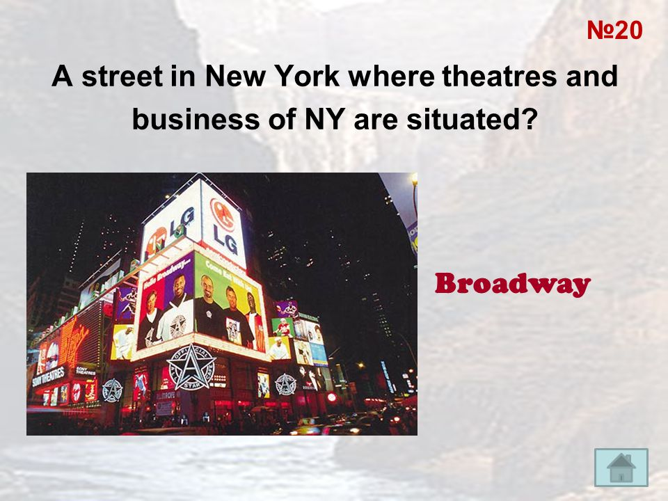 A street in New York where theatres and business of NY are situated