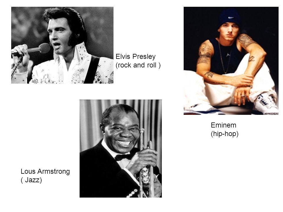 Elvis Presley (rock and roll ) Eminem (hip-hop) Lous Armstrong ( Jazz)