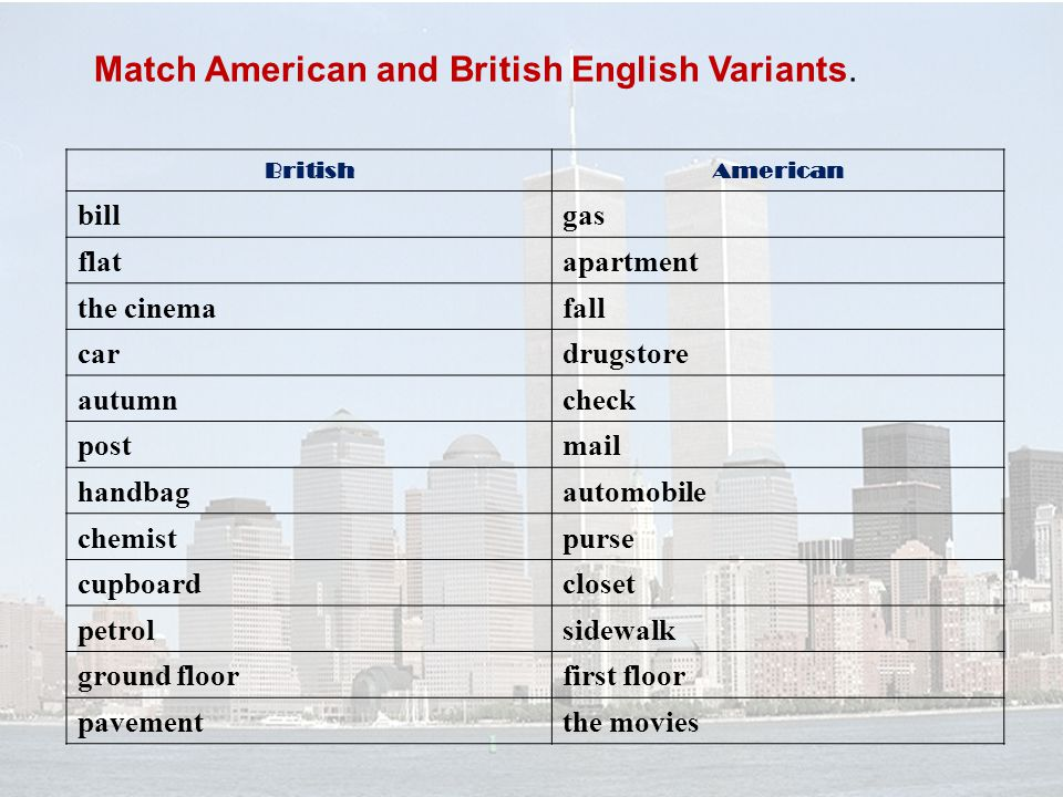 Match American and British English Variants.